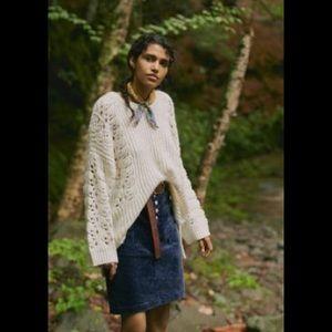 Anthropologie Devenne Pointelle Ivory Sweater Tunic
